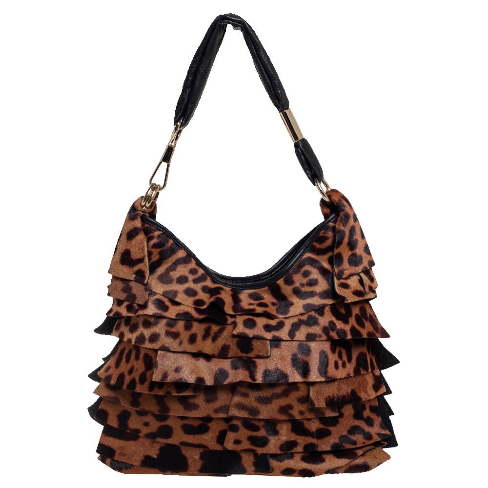 Pre-owned Saint Laurent Brown/black Leopard Print Calfhair And Leather St. Tropez Hobo