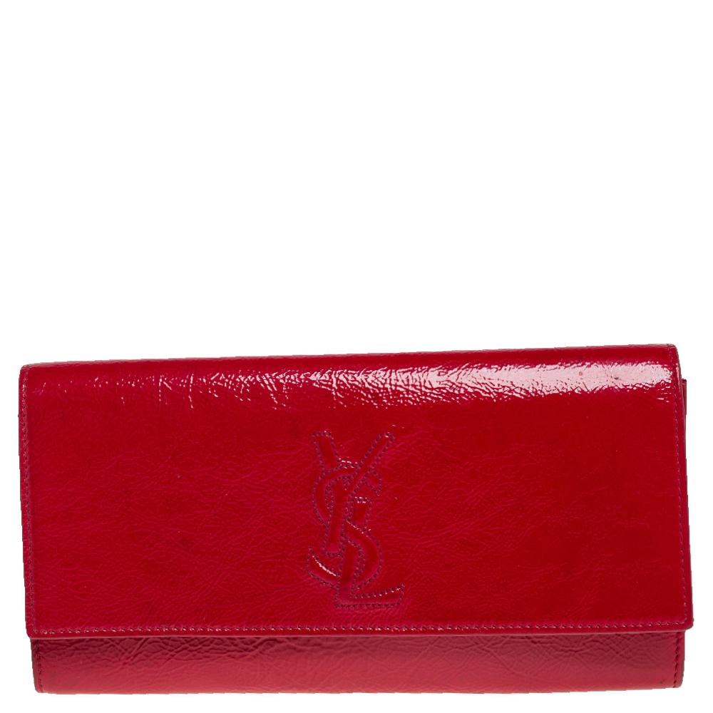 Pre-owned Saint Laurent Red Patent Leather Belle De Jour Flap Clutch