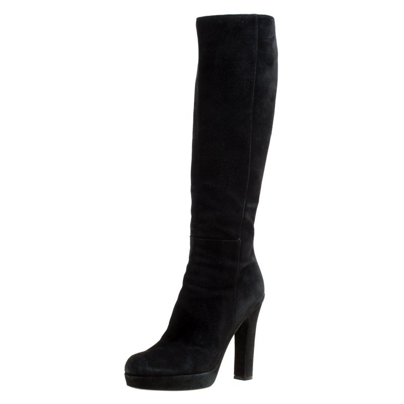 f67d04f5445 ... Saint Laurent Black Suede Block Heel Knee Length Platform Boots Size  40. nextprev. prevnext