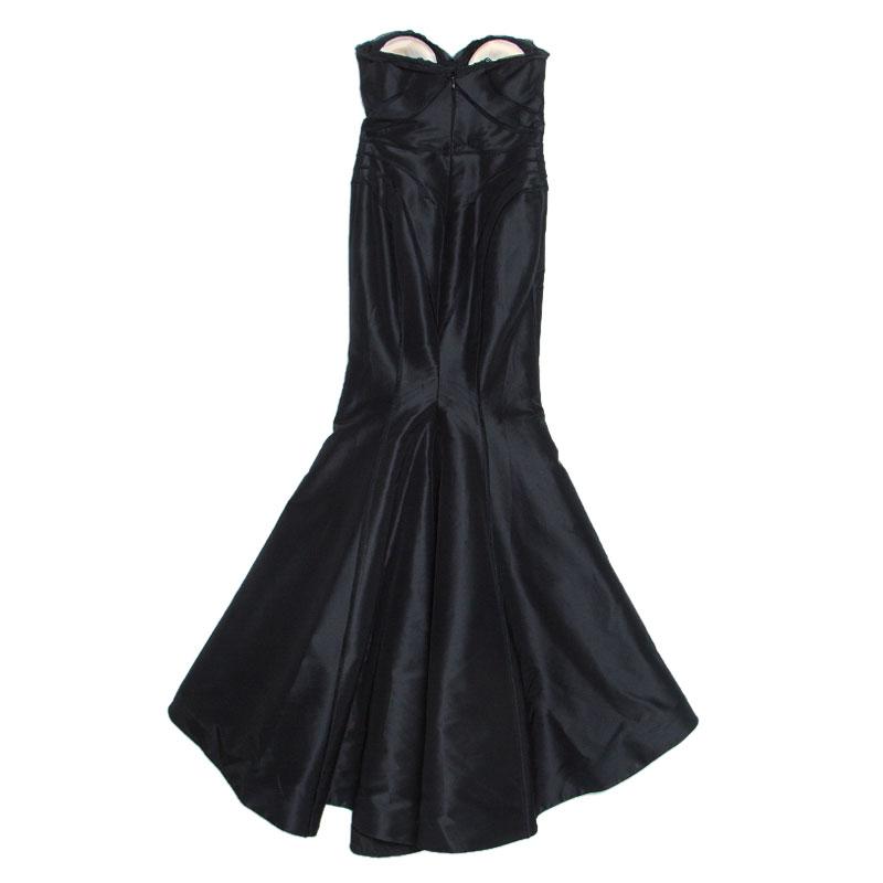 Zac Posen Black Silk Strapless Mermaid Gown