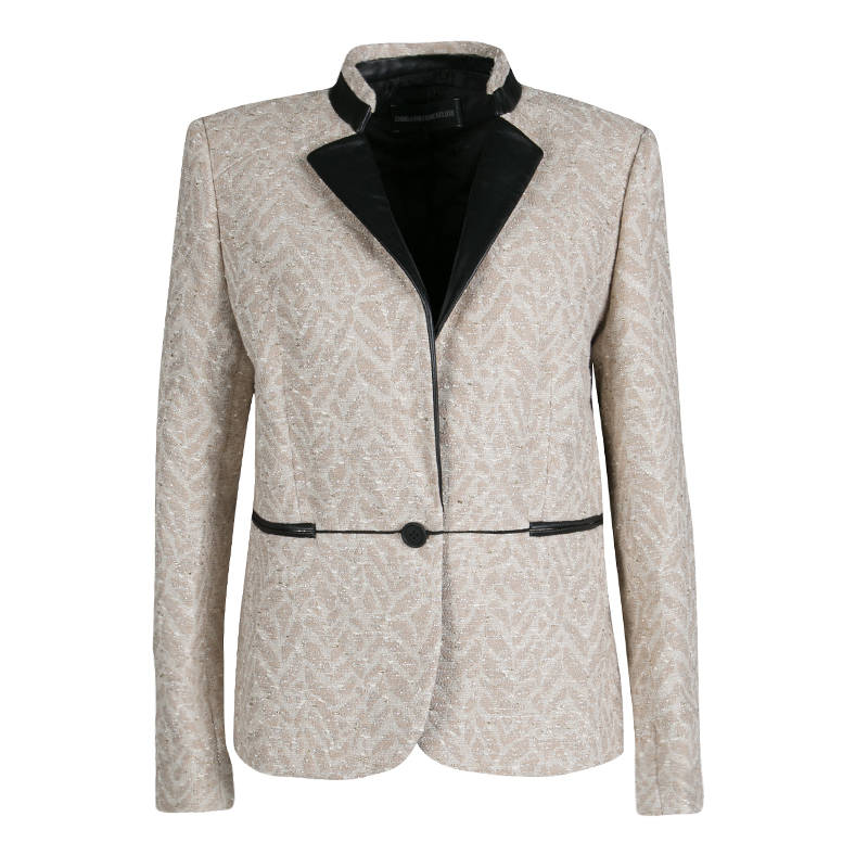 Купить со скидкой Zadig and Voltaire Beige Lurex Detail Leather Trim Detail Victana Deluxe Blazer M