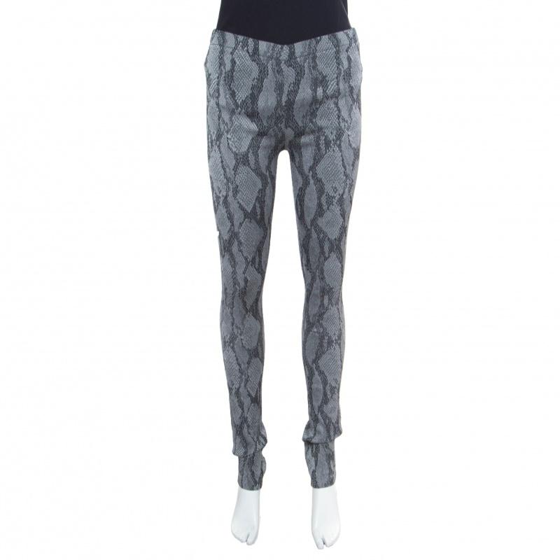 Купить со скидкой Zadig and Voltaire Grey Python Pattern Jacquard Pharell Leggings M