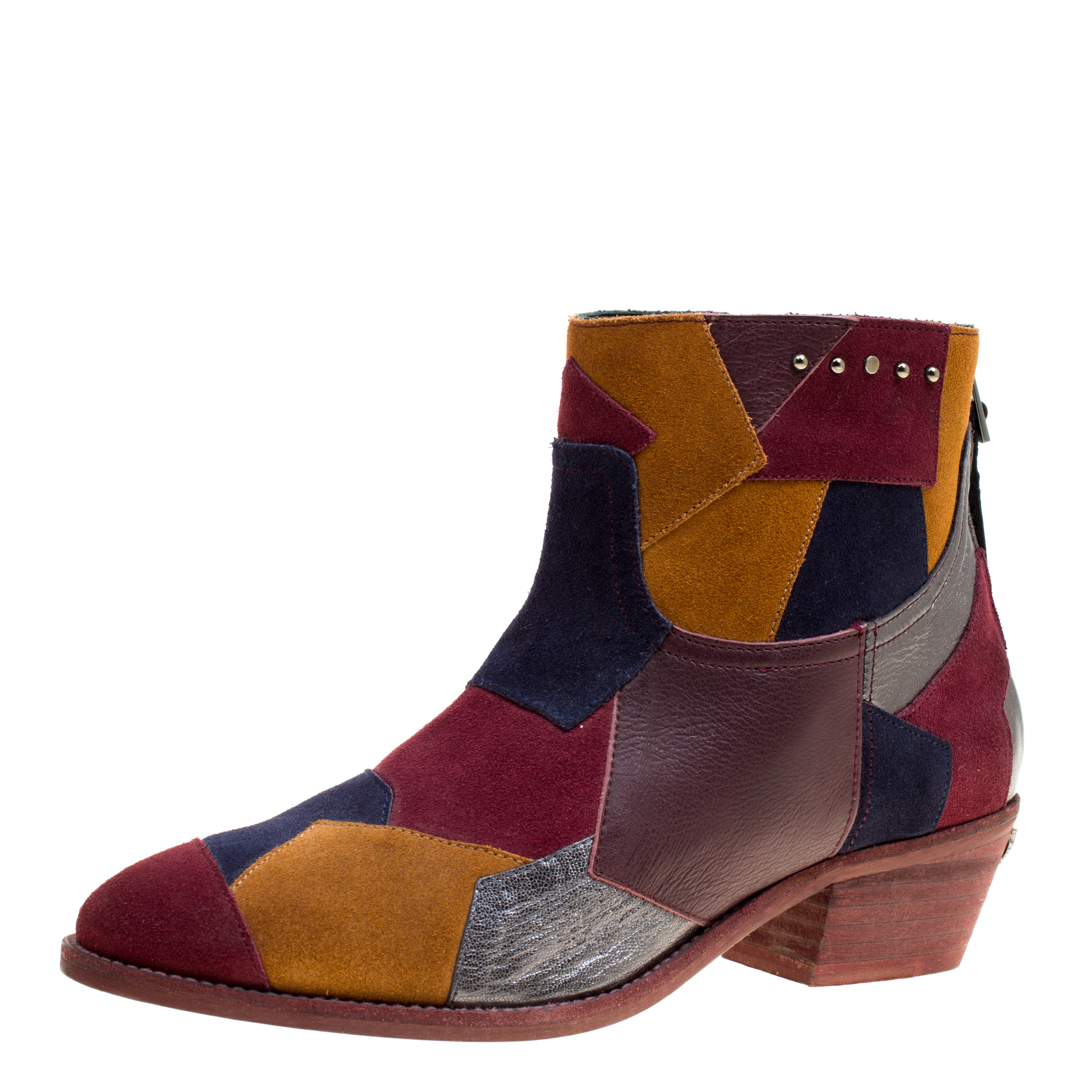 90e45a5a35c5ff Buy Zadig and Voltaire Multicolor Suede and Leather Patchwork Teddy ...