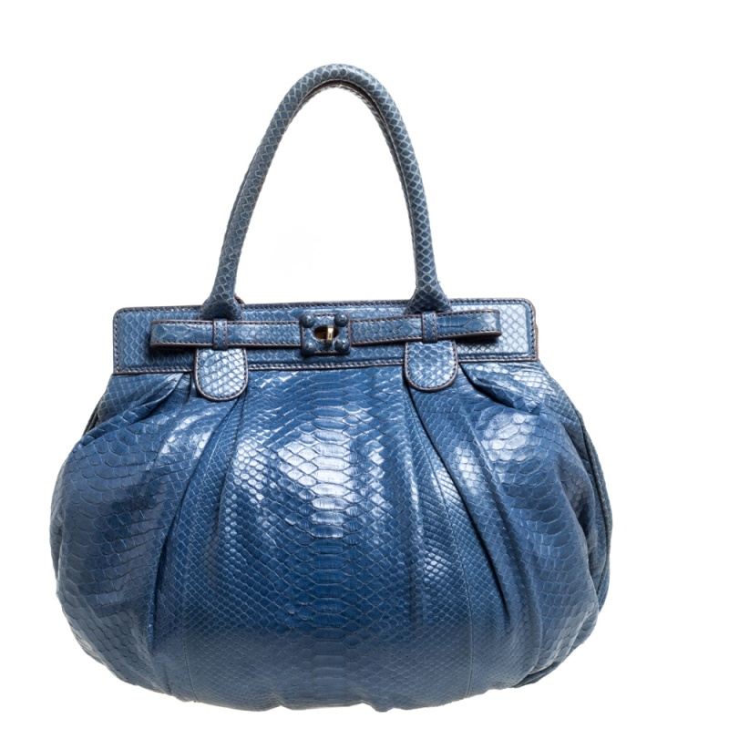 Pre-owned Zagliani Blue Python Puffy Hobo
