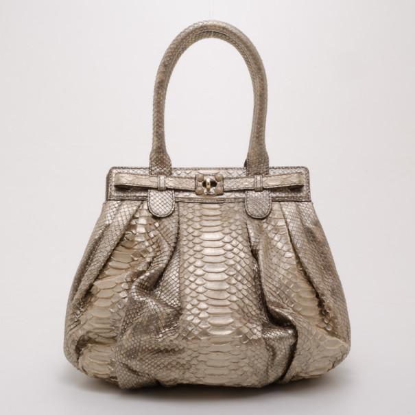 Zagliani Beige Metallic Python Medium Puffy Bag