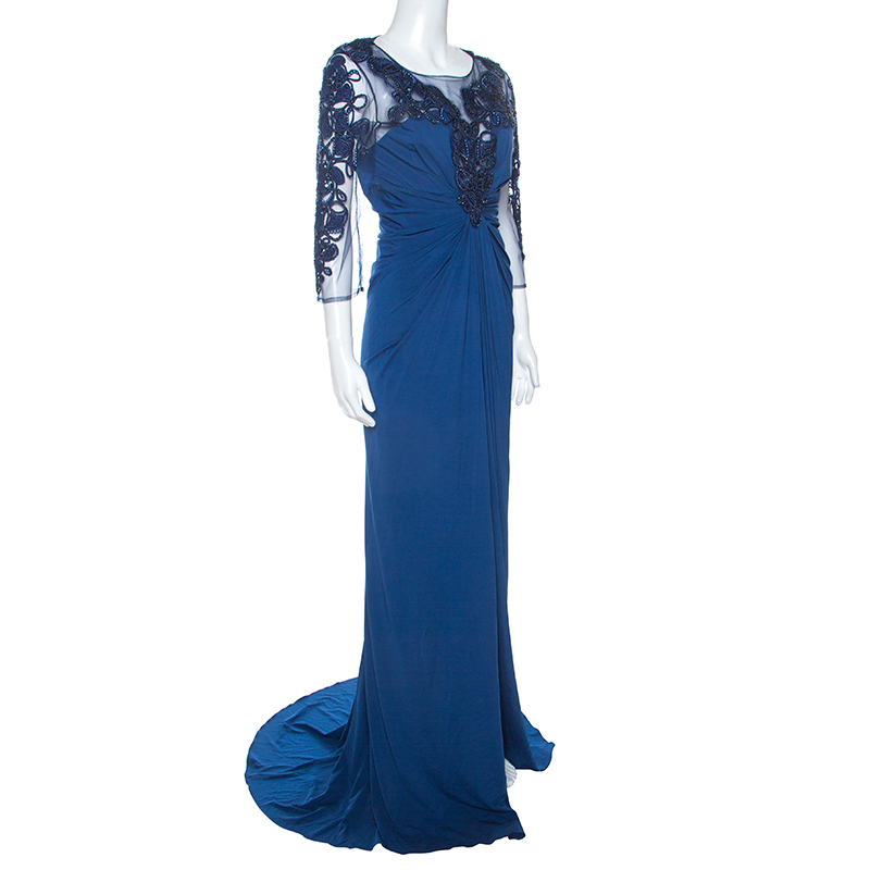 Zuhair Murad Blue Stretch Embellished Bodice Evening Gown