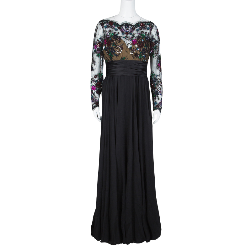 Zuhair Murad Black Lace Embellished Detail Ruched Long Sleeve Gown