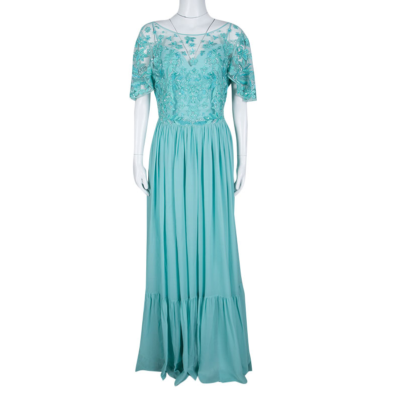 Zuhair Murad Aqua Blue Floral Embellished Embroidered Bodice Detail Gown