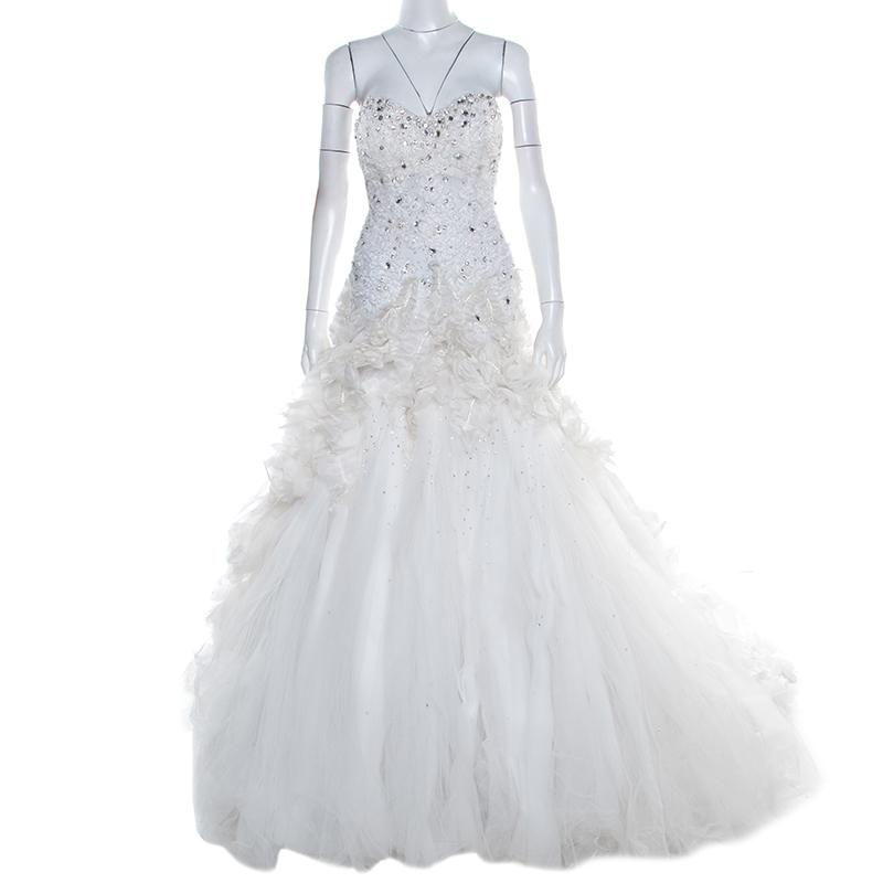 Buy Zuhair Murad White Embellished Strapless Ruffled Tulle Wedding
