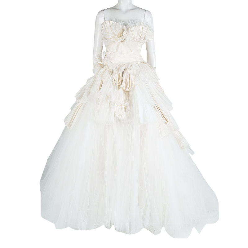 Zuhair Murad Off White Plisse Ruffle Detail Layered Strapless Wedding Gown