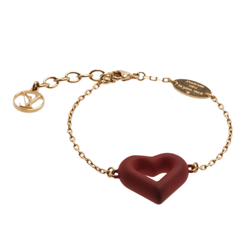 Louis Vuitton LV & V Red Gold Tone Bracelet