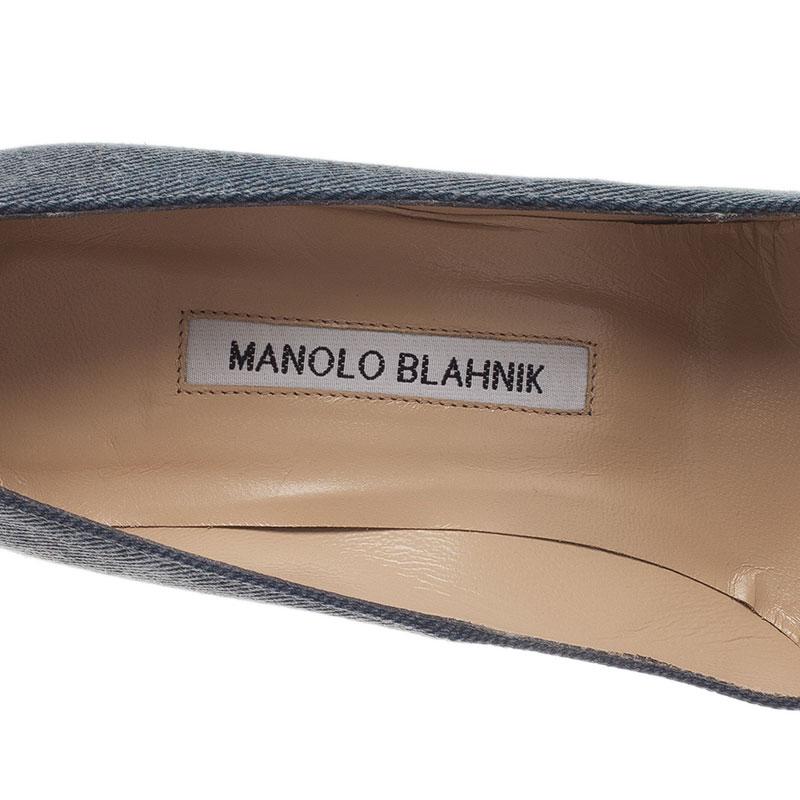 Manolo Blahnik Blue Denim BB Pumps Size 37.5