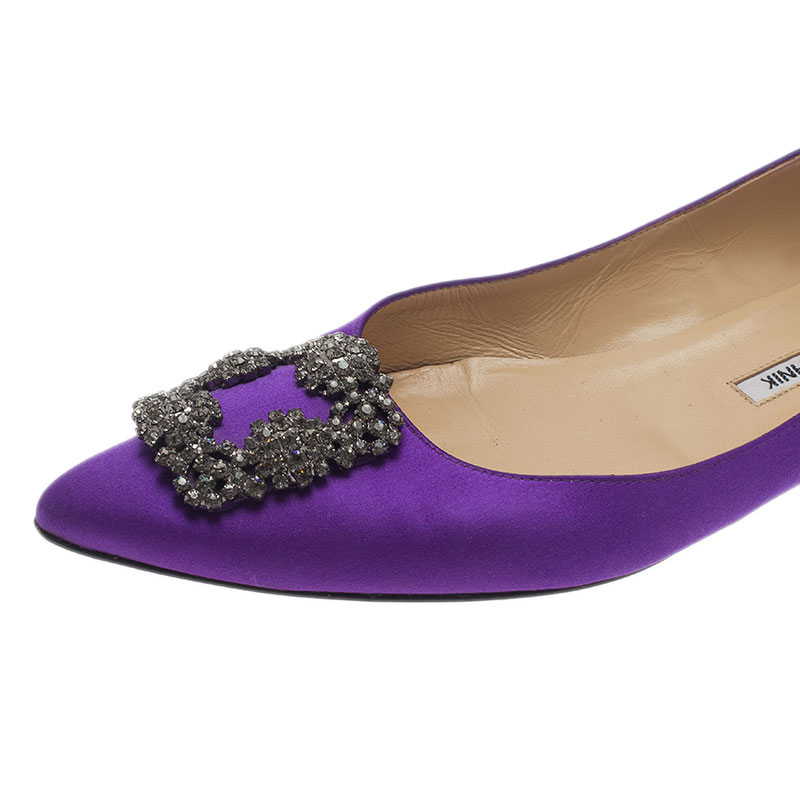 Manolo Blahnik Purple Satin Hangisi Ballet Flats Size 40