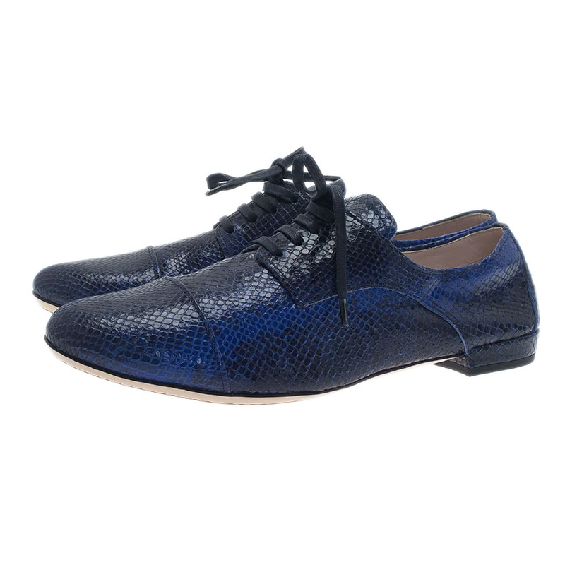 Miu Miu Blue Python Embossed Leather Oxfords Size 38.5