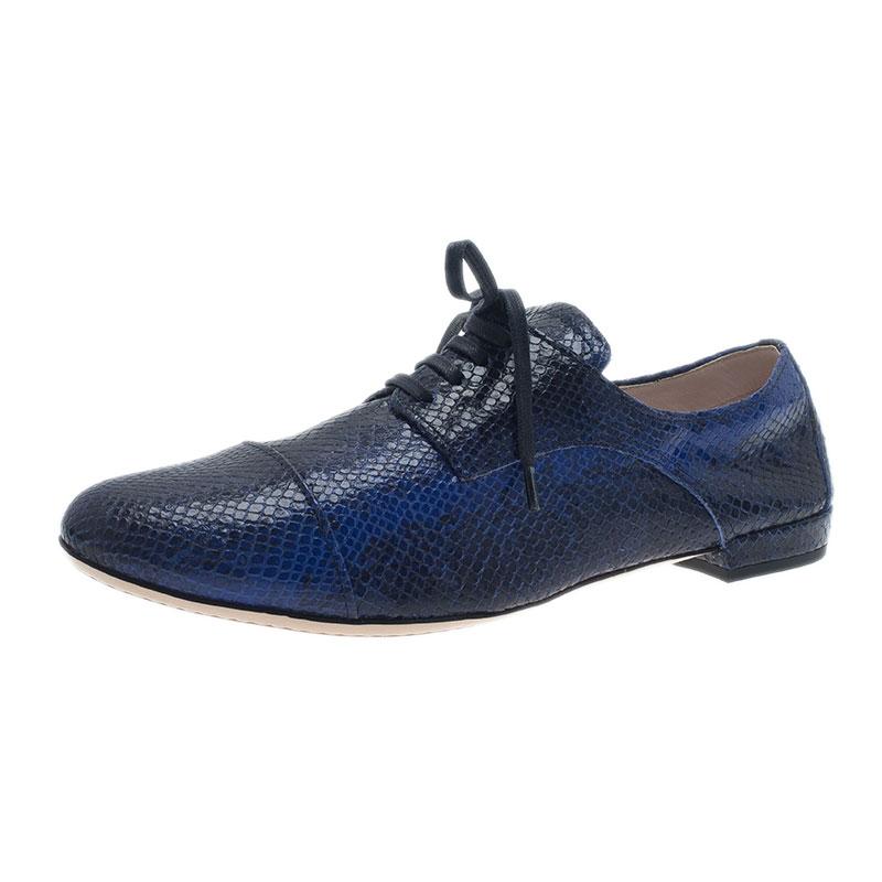 Miu Miu Blue Python Embossed Leather Oxfords Size 38.5