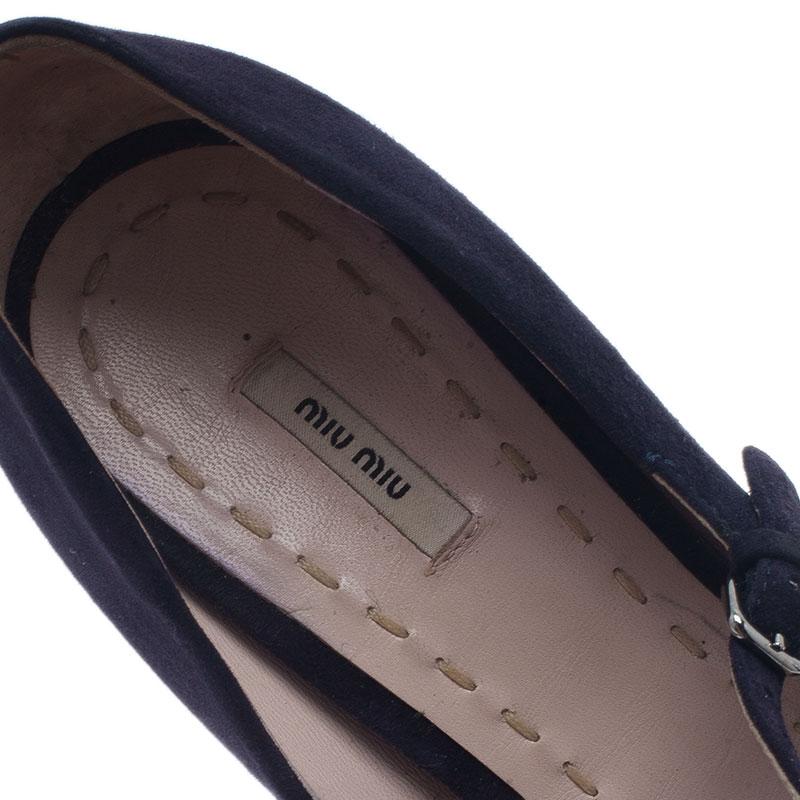 Miu Miu Blue Suede Mary Jane Pumps Size 39