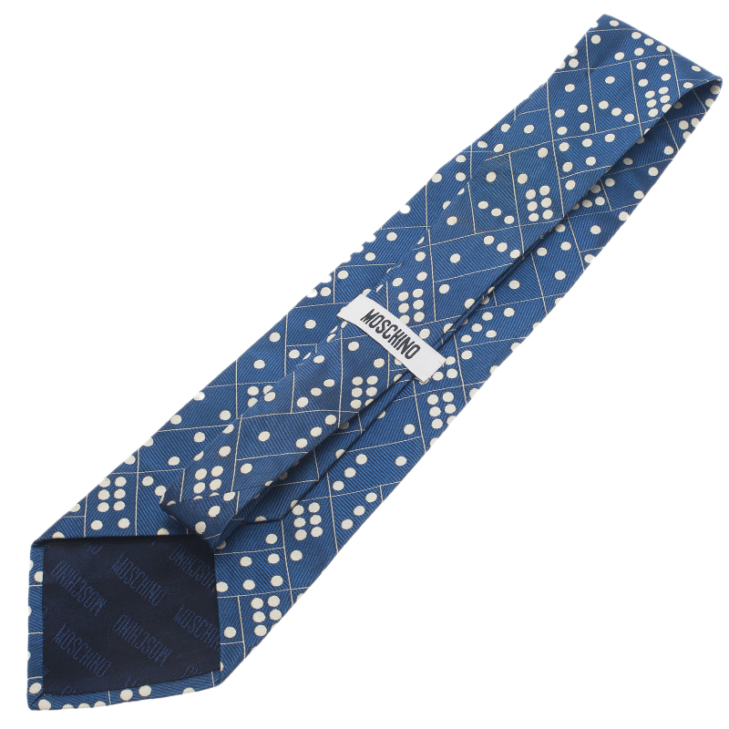 Moschino Blue Domino Print Silk Tie