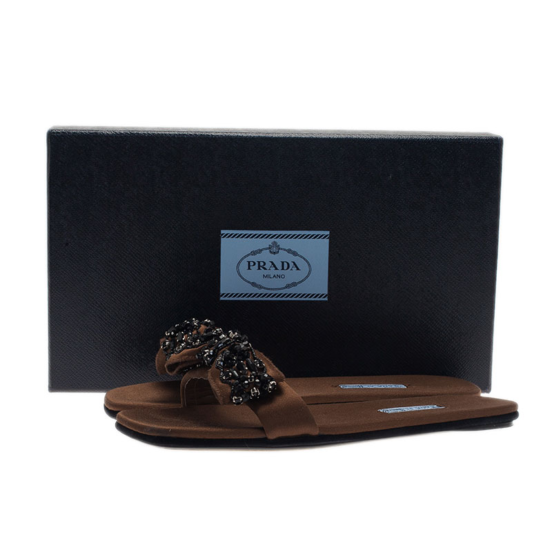 Prada for Harrods Brown Satin Embellished Bow Slides Size 38