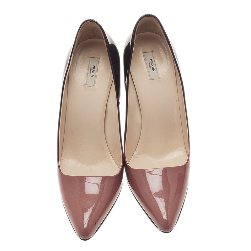 Prada Purple Shaded Leather Pointed Toe Pumps Size 37