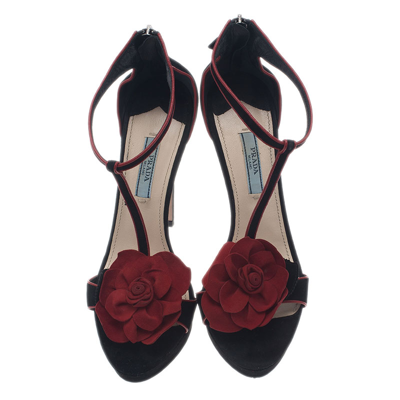 Prada Two Tone Suede Rossette Sandals Size 37