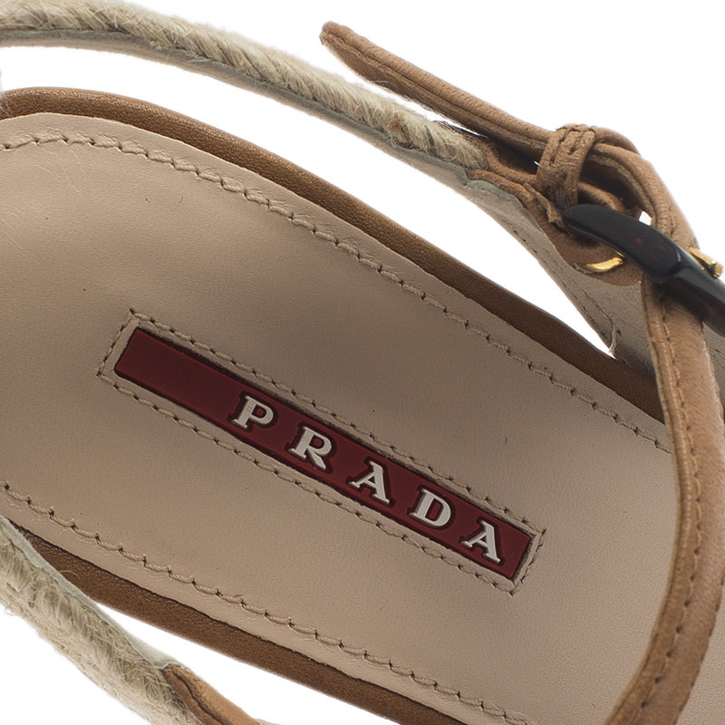 Prada Sport Beige Leather Bow Detail Slingback Wedge Sandals Size 38