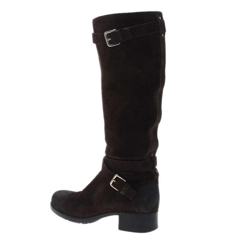 Prada Sport Brown Suede and Leather Double Buckle Knee Boots Size 37