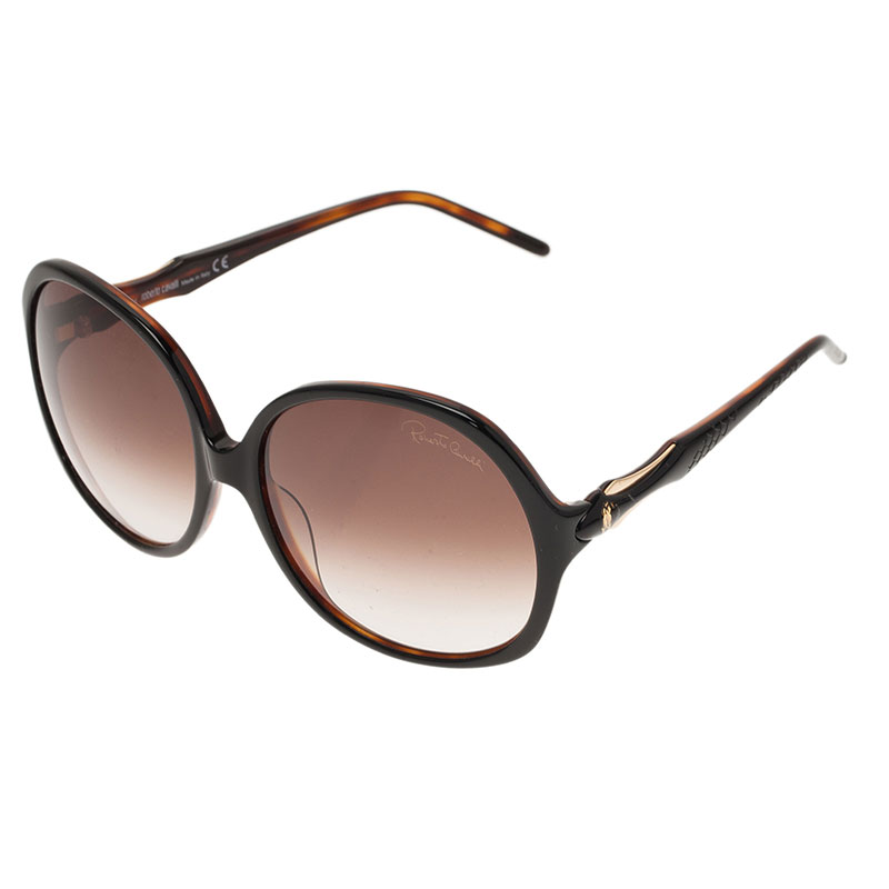 Roberto Cavalli Black Bougainvillea Square Sunglasses