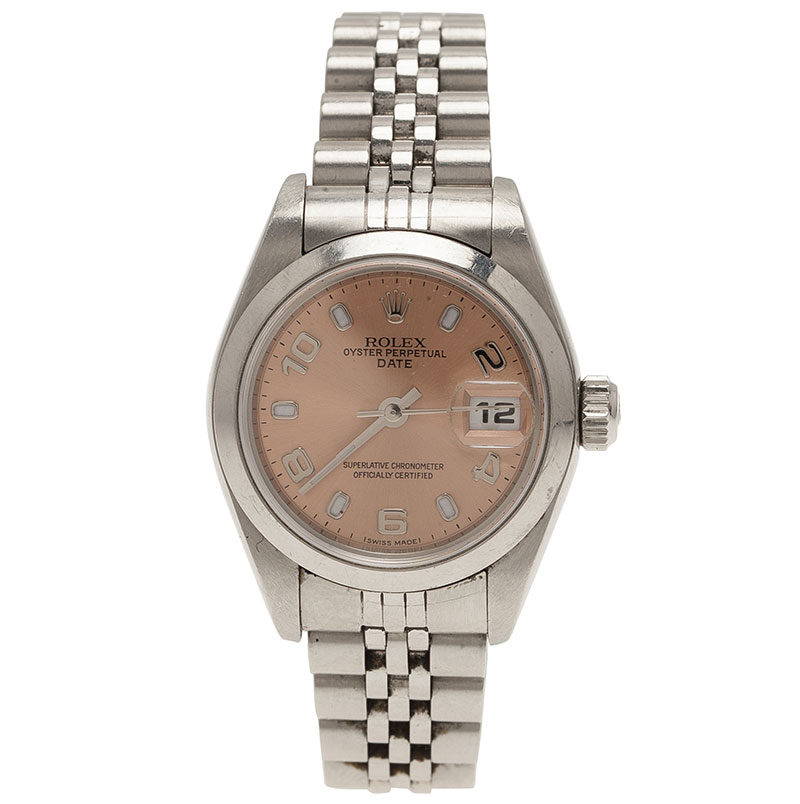 Rolex Pink Stainless Steel 79160 Datejust Women's Wristwatch 26MM