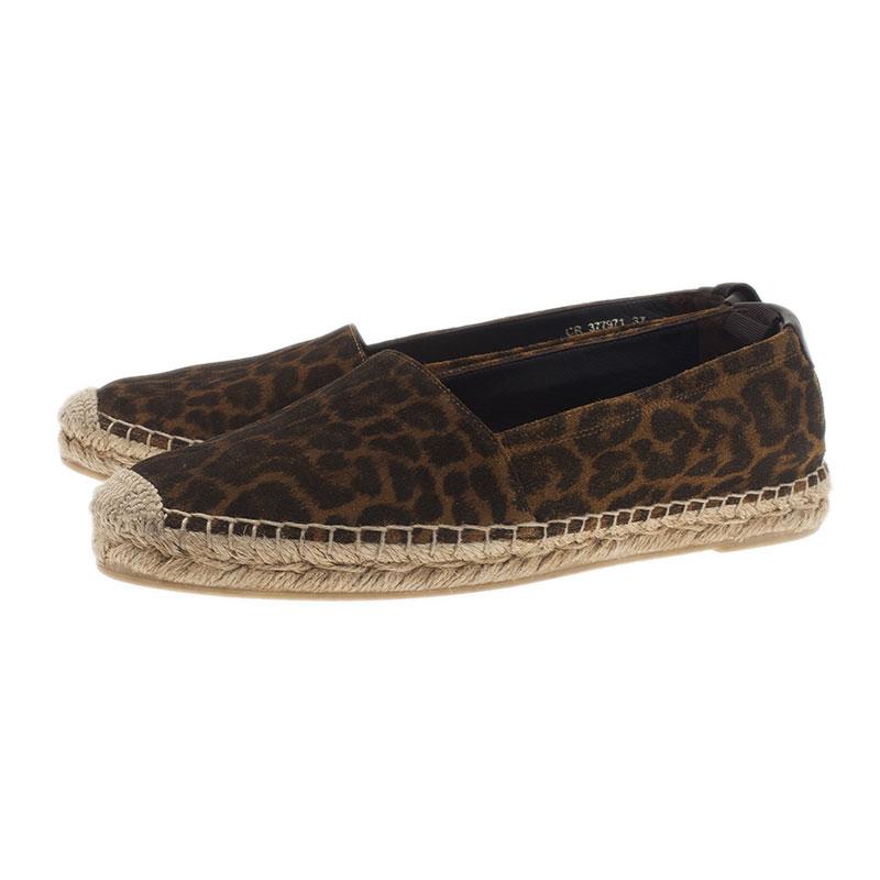 Saint Laurent Paris Leopard Print Brushed Suede Espadrilles Size 37