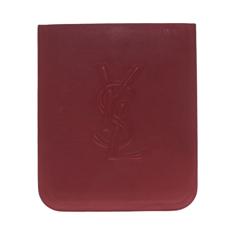 Saint Laurent Paris Red Leather Belle Du Jour iPad Sleeve