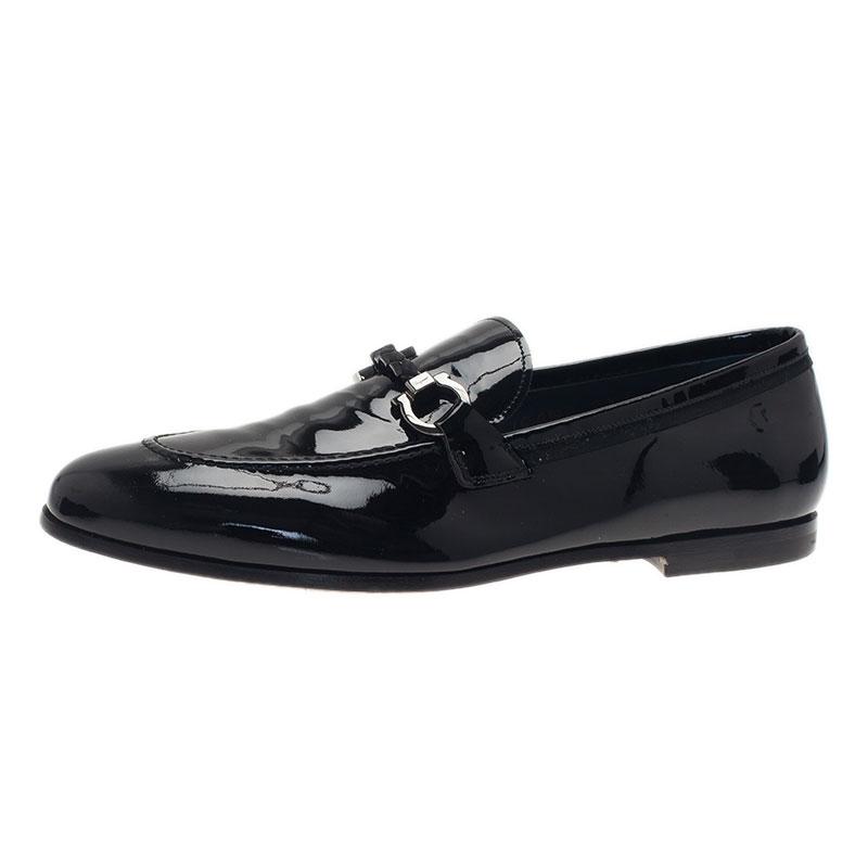 Salvatore Ferragamo Black Patent Gancino Bit Loafers Size 42.5