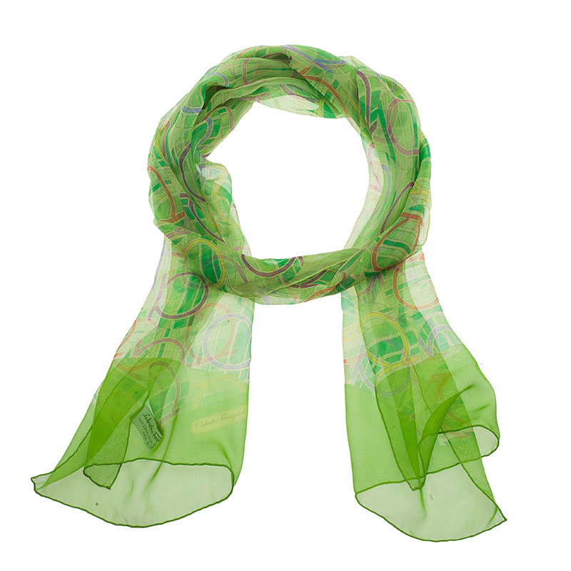 Salvatore Ferragamo Green Silk Scarf