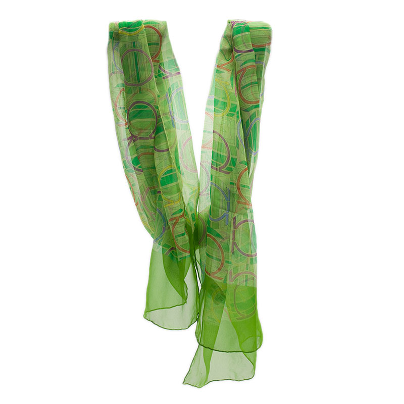 Salvatore Ferragamo Green Silk Scarf