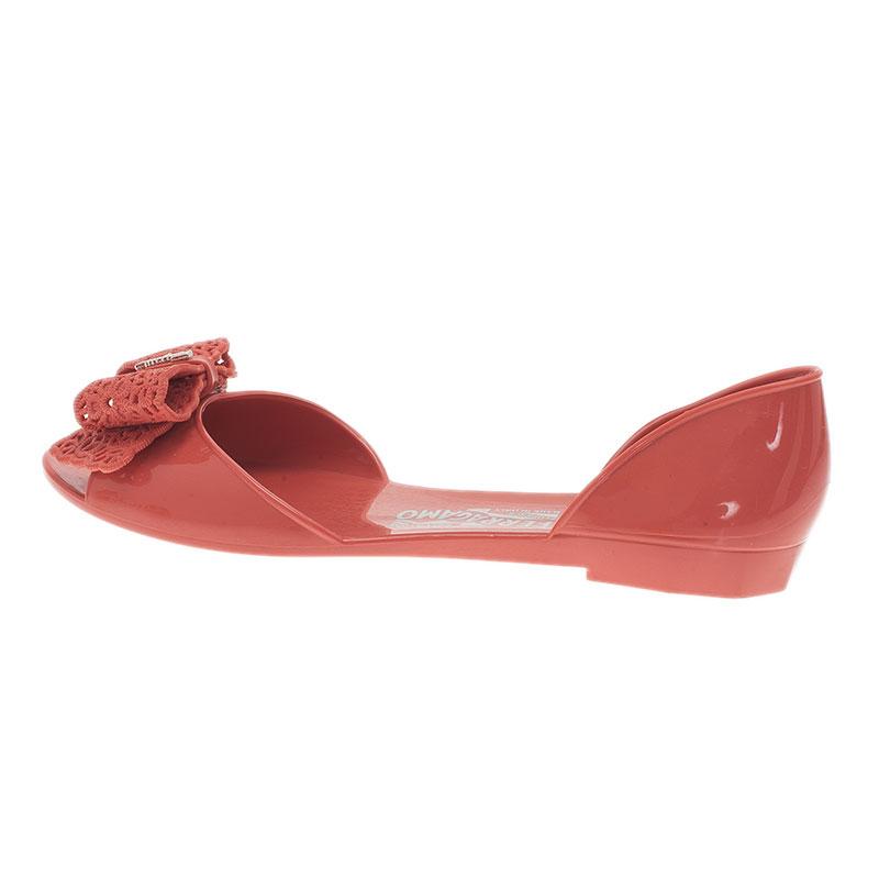 Salvatore Ferragamo Pink Preita Lace Bow Jelly Flats Size 39.5