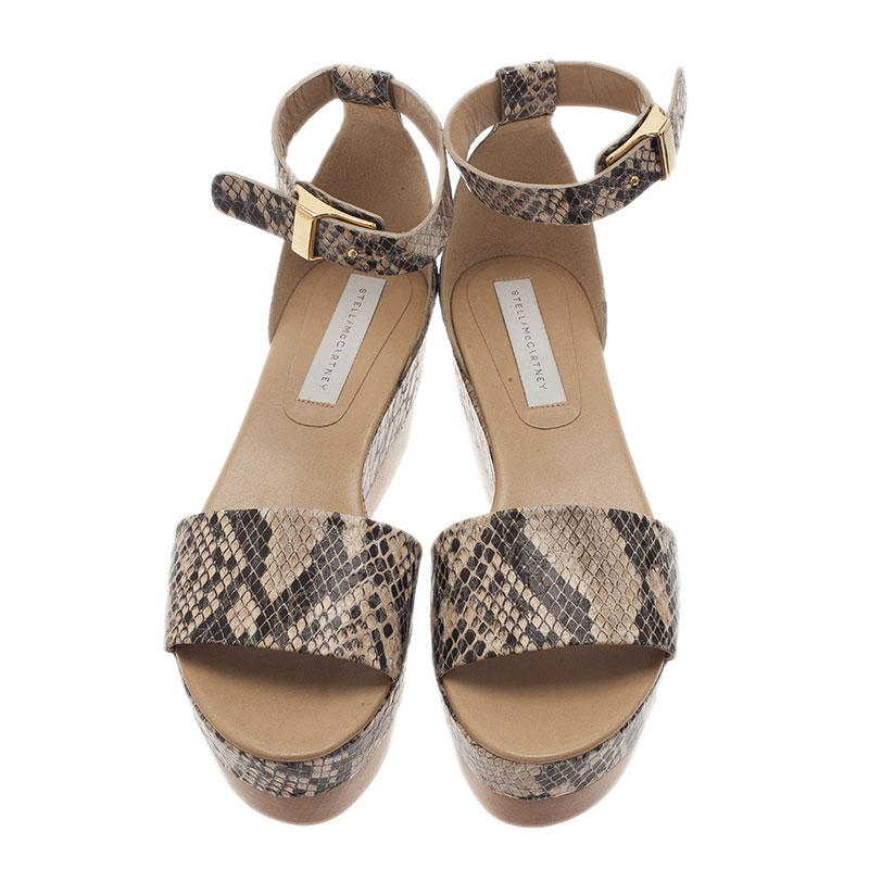 Stella McCartney Beige Faux Python Ankle Strap Wedges Size 40