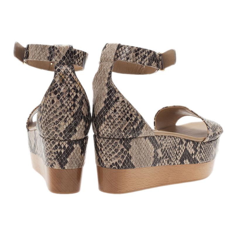 Stella McCartney Beige Faux Python Ankle Strap Wedges Size 40