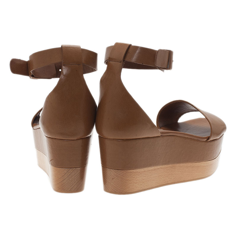 Stella McCartney Brown Faux Leather Lindsey Ankle Strap Wedge Sandals Size 40