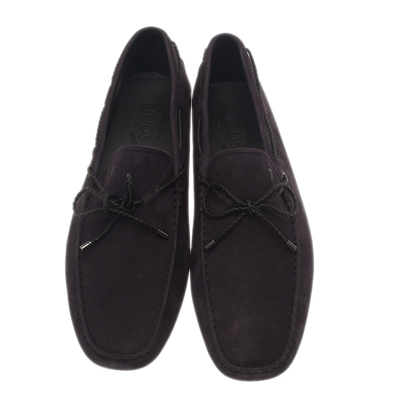 Tod's Black Suede Bow Loafers Size 45.5
