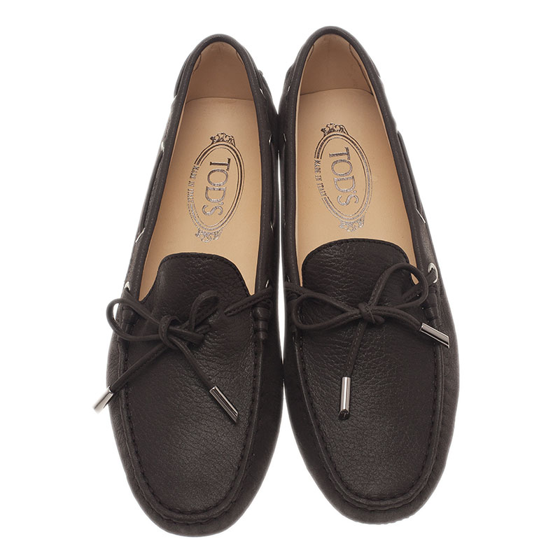 Tod's Brown Leather Bow Loafers Size 40