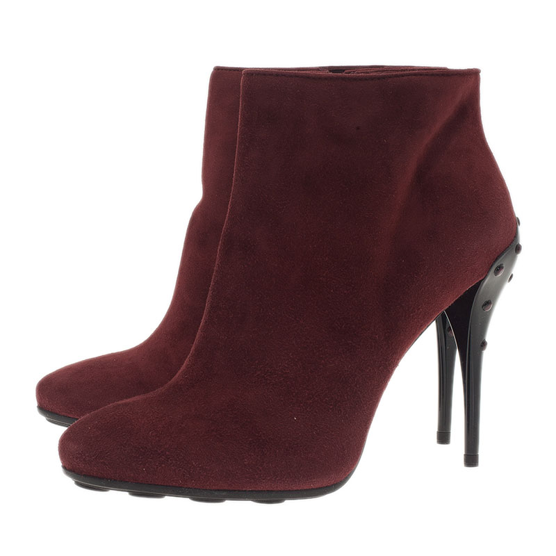 Tod's Burgundy Suede Ankle Booties Size 39