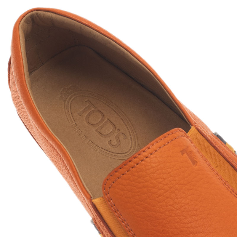 Tod's Orange Leather and Suede Striped Loafers Size 43.5