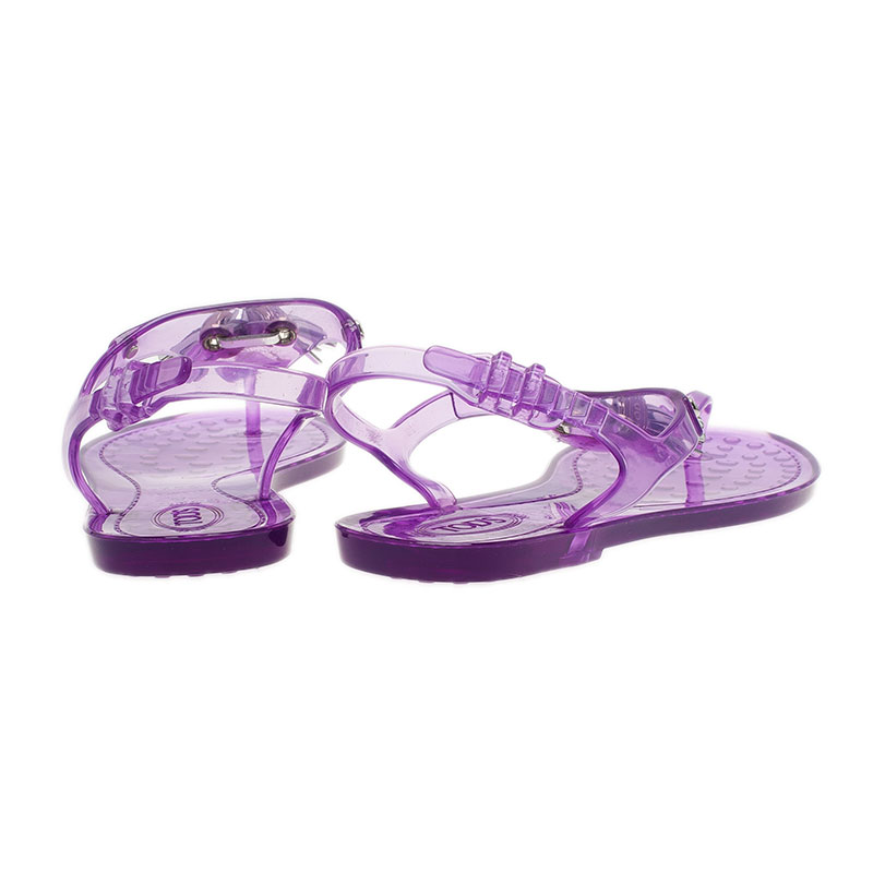 Tod's Purple Tassel Detail Thong Jelly Sandals Size 37