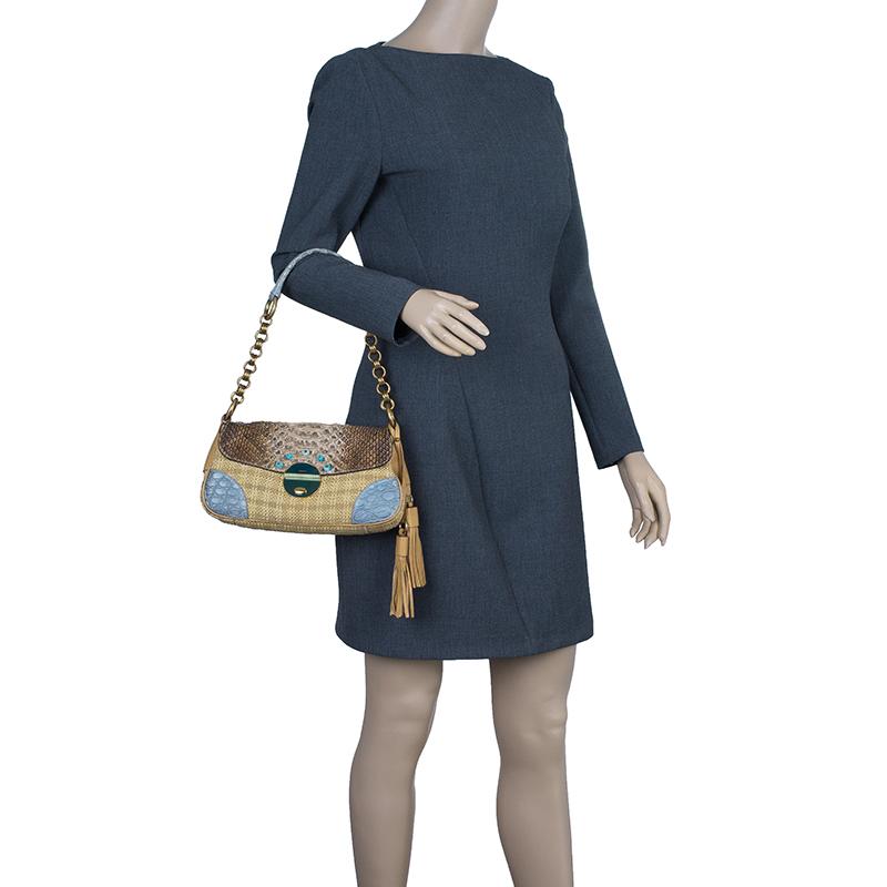 Prada Beige Python Stitched Paglia Twist Shoulder Bag