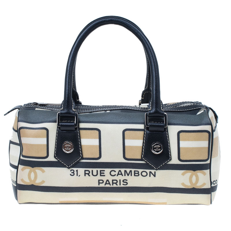 Chanel Black and White Canvas Le Train Boston