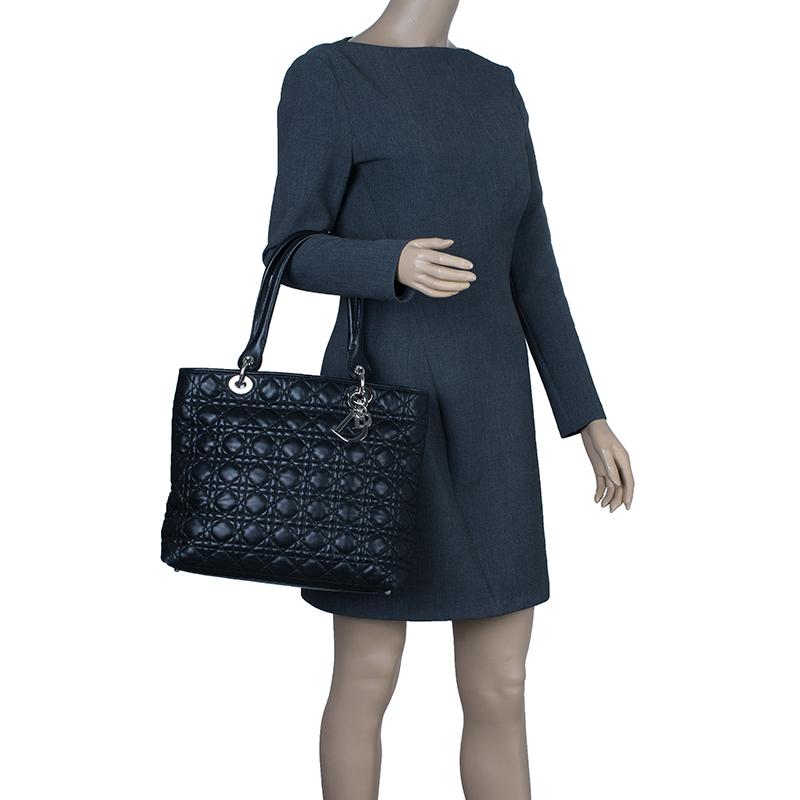 Dior Black Lambskin Lady Dior Shopper Tote