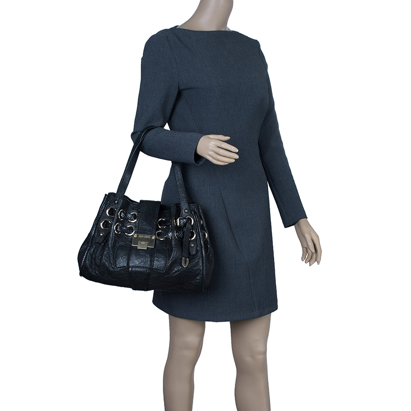 Jimmy Choo Black Leather Python Trim Riki Stamped Shoulder Bag