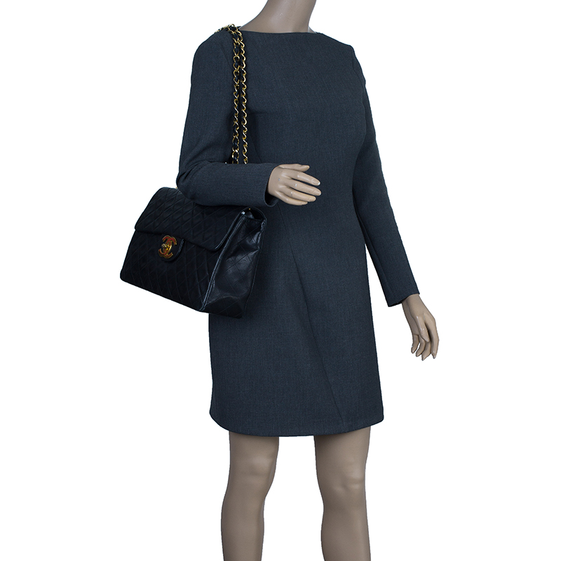 Chanel Black Lambskin Maxi Vintage Flap Bag