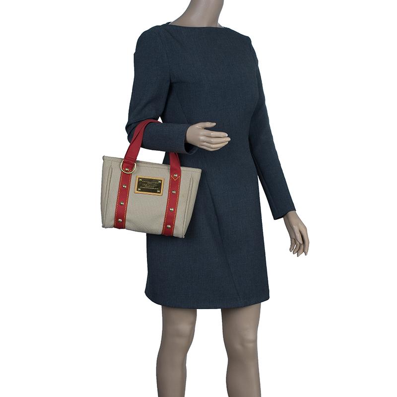 Louis Vuitton Beige Antigua Canvas Cabas PM Tote