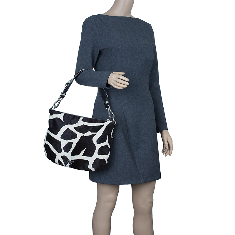 Prada Animal Print Calf Fur Shoulder Bag
