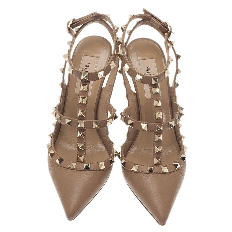 Valentino Beige Leather Rockstud Sandals Size 35.5